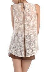 RYU Sleeveless Top-Lace Neck