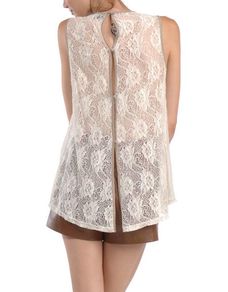 RYU Sleeveless Top-Lace Neck