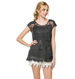 Monoreno Lace Layered Fringe Top 2pc