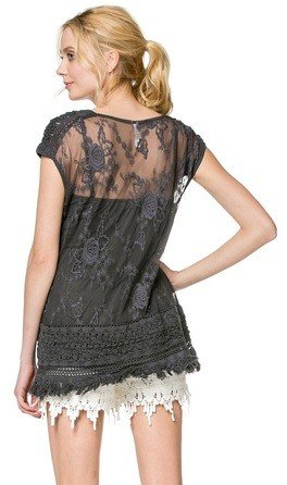 Monoreno Lace Layered Fringe Top 2pc