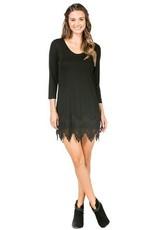 Monoreno Knit Dress Lace Trim