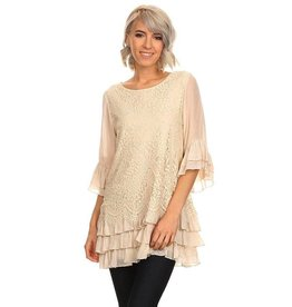 SassyBling Lace Layer Tunic Tiered Ruffle Bottom  Cream