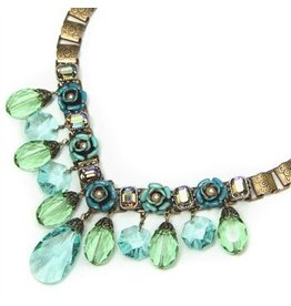 Sweet Romance Crystal Rose Collar Necklace Green