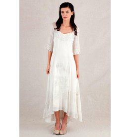 Nataya Embroidered Hi-Lo Long Half Sleeve Dress Ivory