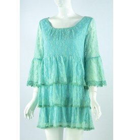 Lady Noiz Ruffle Tunic with Lace Trim Aqua