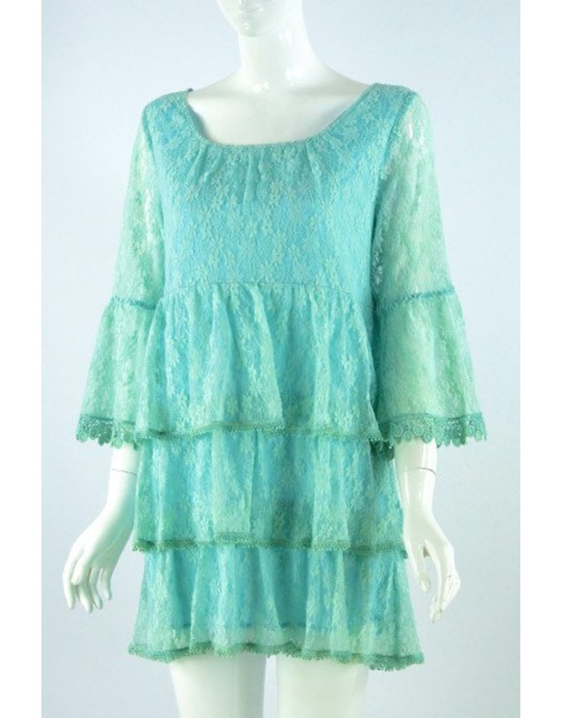 Lady Noiz Ruffle Tunic with Lace Trim