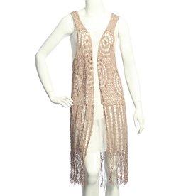 SassyBling Long Crochet Vest Fringe Dtl