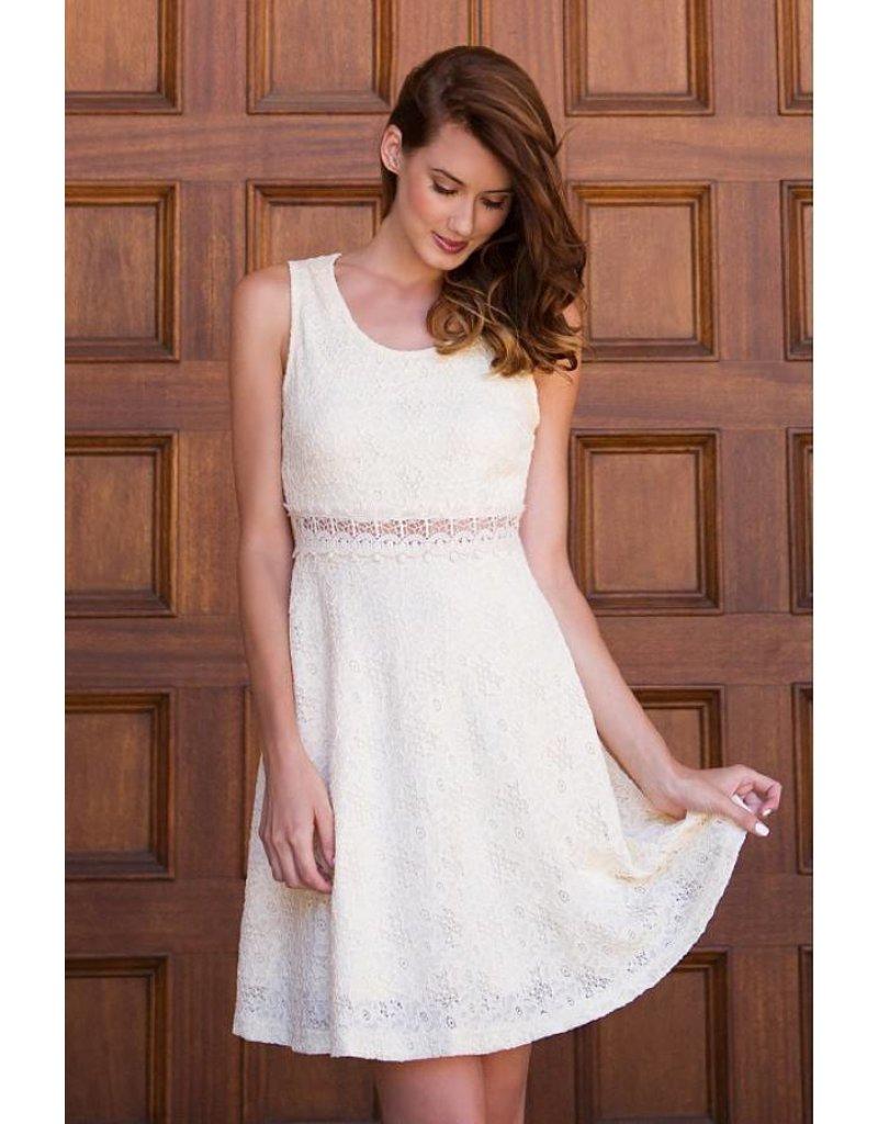 A'reve Slvlss Floral Laced Dress Waist Dtl
