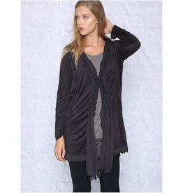 Monoreno Suede-like Cardigan Lined with Chiffon