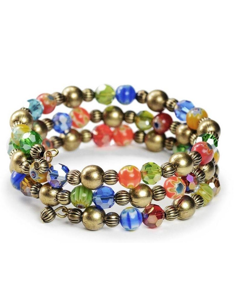 Sweet Romance Glass Candy Bead Wrap Bracelet