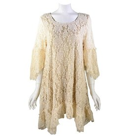 Lady Noiz Rose Floral Lace Tunic Beige/Mocha Plus