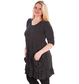Polka Dot Tunic w/ Pockets Black