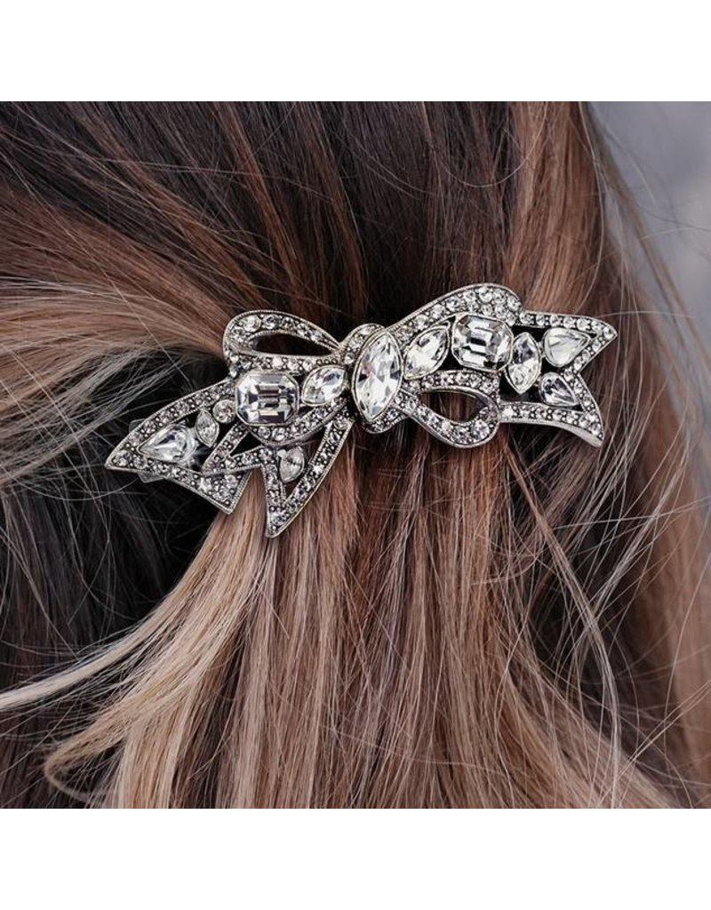 Sweet Romance Crystal Bow Hair Barrette