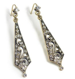 Sweet Romance Art Deco Taper Earring - Bronze