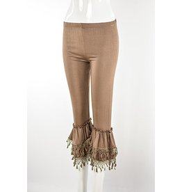Lady Noiz Ruffled Bottom Leggings Lace Trim Mocha Plus