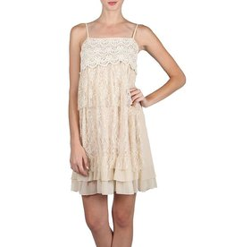 A'reve Spaghetti Strap Over Lace Tunic Cream