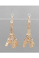 Golden Stella Eiffel Tower Crystal Earrings Clear/Gold