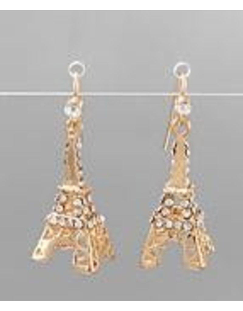 Golden Stella Eiffel Tower Crystal Earrings Clear/Gold