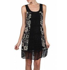 A'reve Flapper Sleeveless Dress Fringe Detail Black