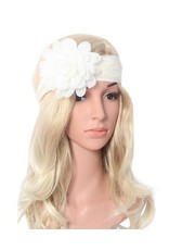 SassyBling Lace Headband w/removable flower pin - ivory