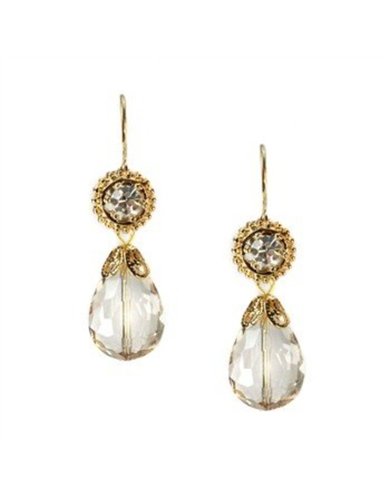 Sweet Romance Champagne Crystal Pear Earrings