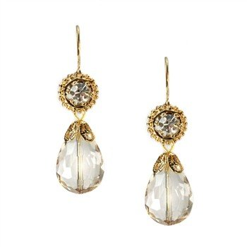 Sweet Romance Champagne Crystal Pear Earrings
