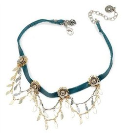 Sweet Romance 1960's Flower choker Turq Leather