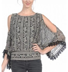 A'reve Open Sleeve Kimono Top w/ Lace Detail Black