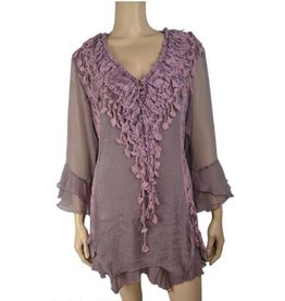 Pretty Angel Ruffle/ Crochet V Neck Bell Slv Top