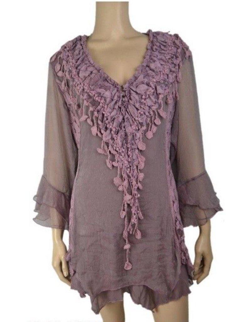 Pretty Angel Ruffle/ Crochet V Neck Bell Slv Top