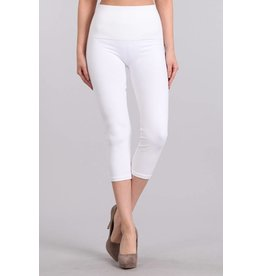 M. Rena Tummy Tuck High Waist Capri Denim Leggings White