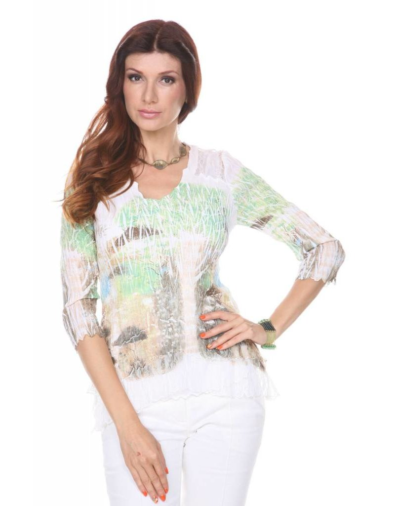 Lindi Pleated Crinkle Lace Top