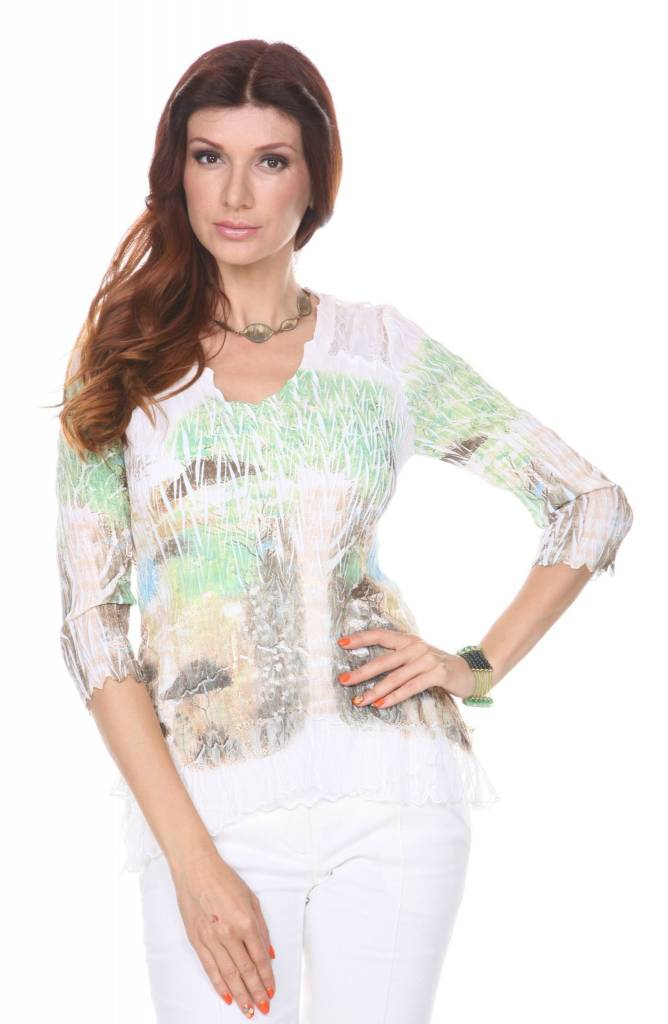Lindi Pleated Crinkle Lace Top Tropical