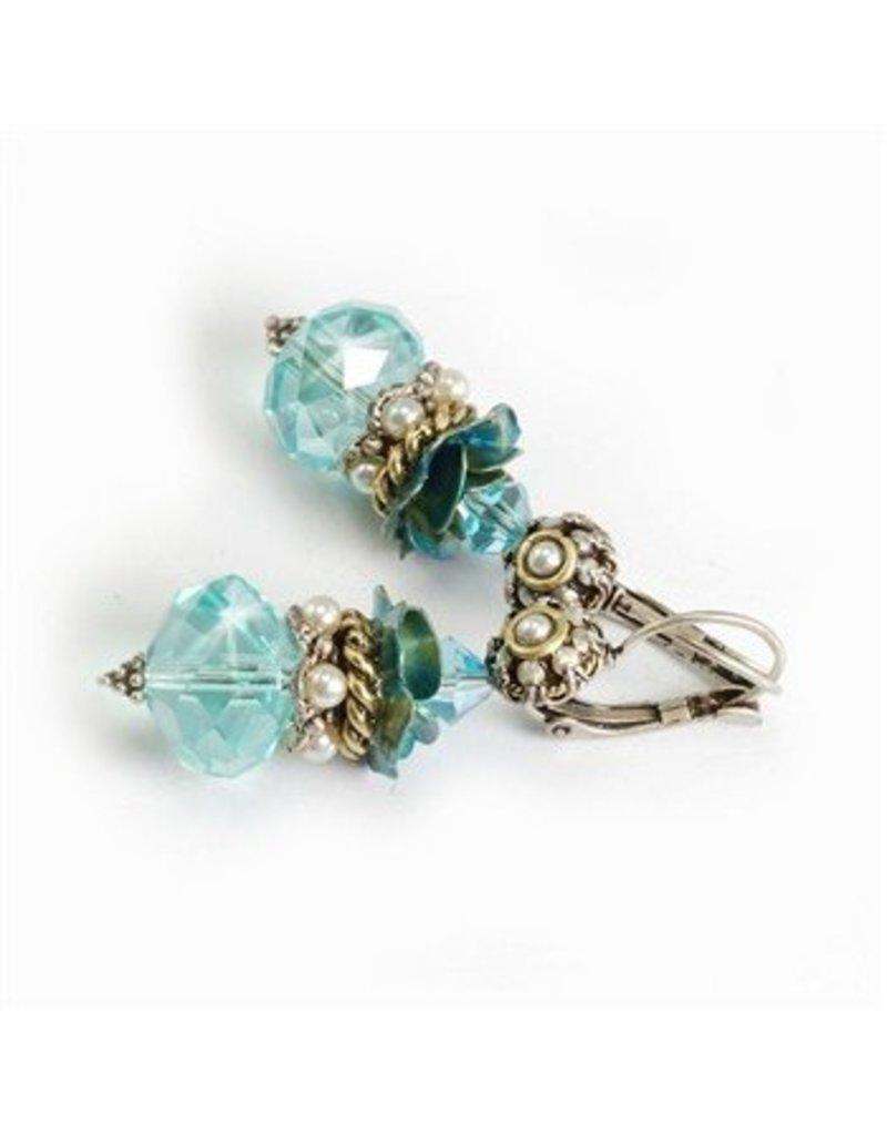 Sweet Romance Crystal/pearl rosette stack earring