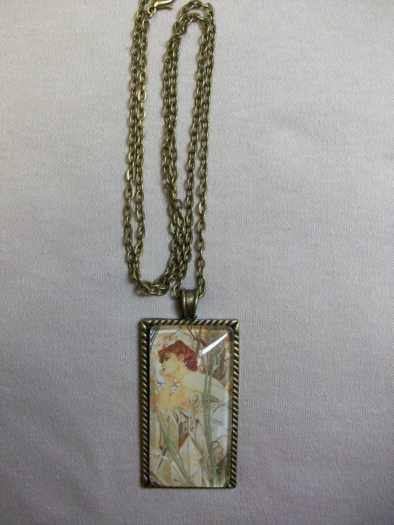 Sharon B's Originals Mucha Ant Gold Red Hair Lady Pendant