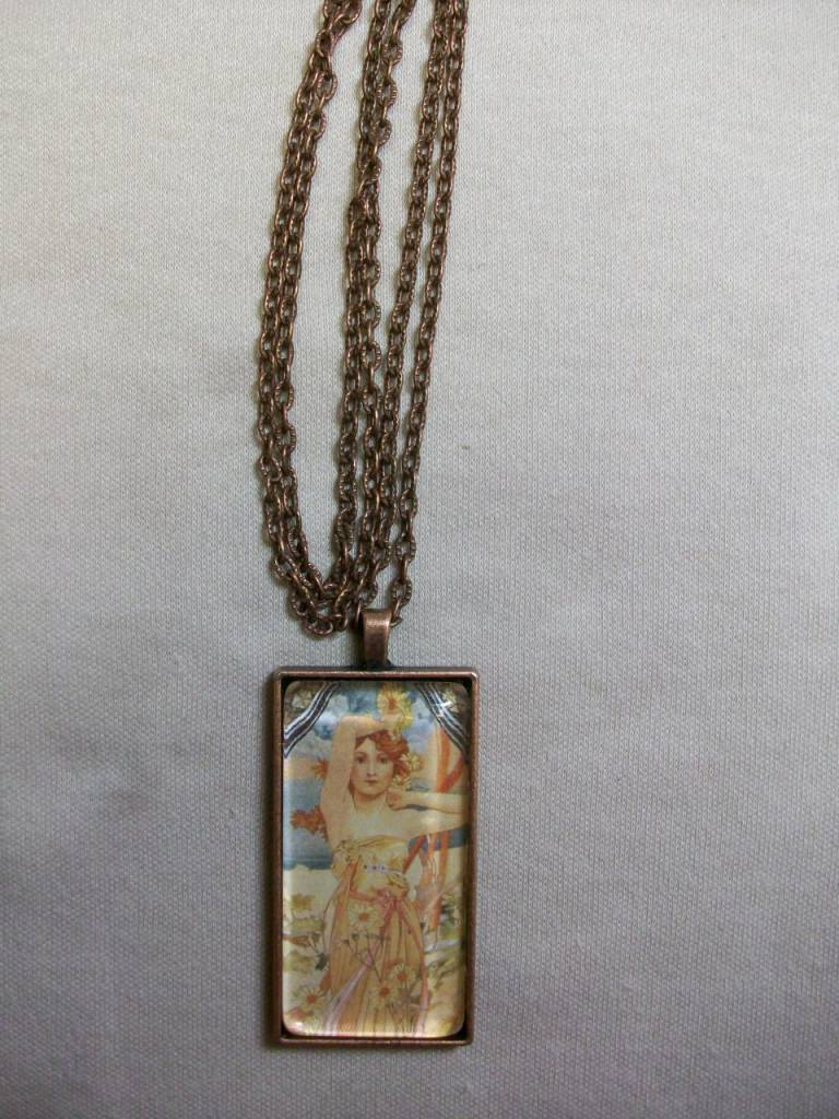 Sharon B's Originals Mucha Ant Copper Red Hair Lady Pendant