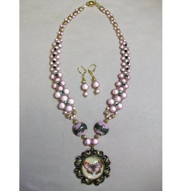 Sharon B's Originals Pink & Gold Miracle Bead & Stones B-fly Pendant NL & ER Set