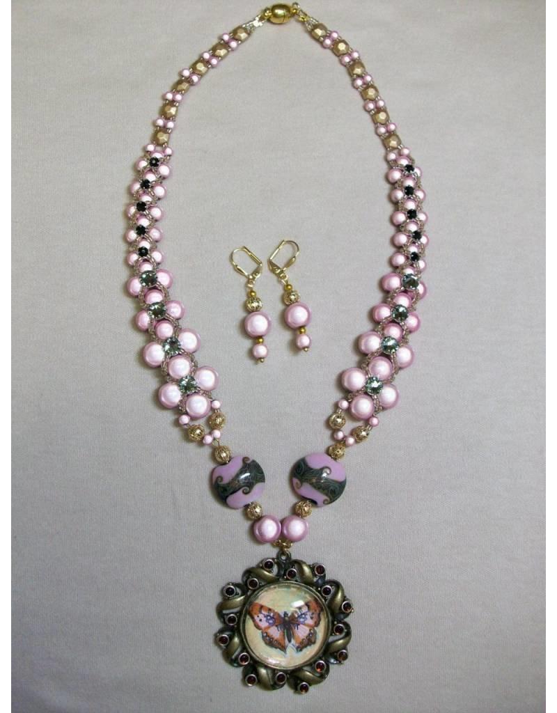 Sharon B's Originals Pink & Gold Miracle Bead & Stones B-fly Pendant NL & ER Set