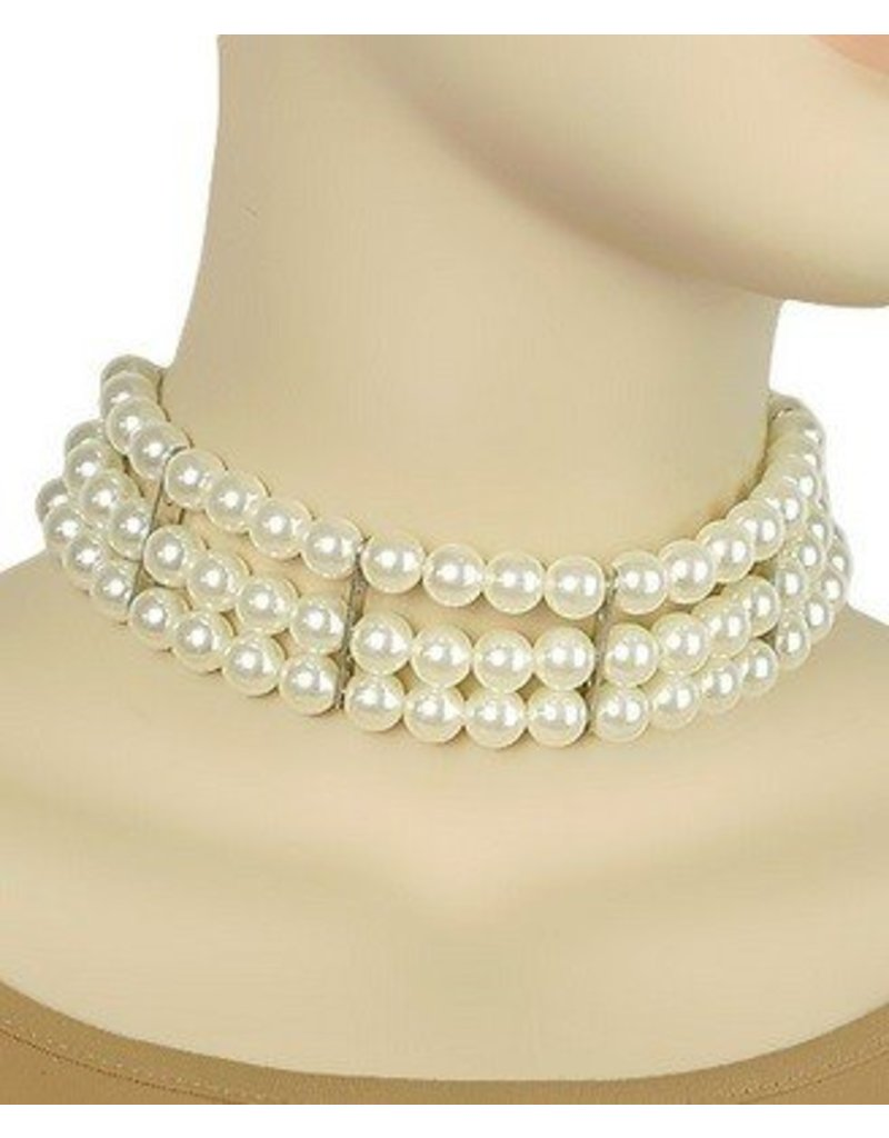 Golden Stella 3 Row Pearl Choker Pearls/Silver