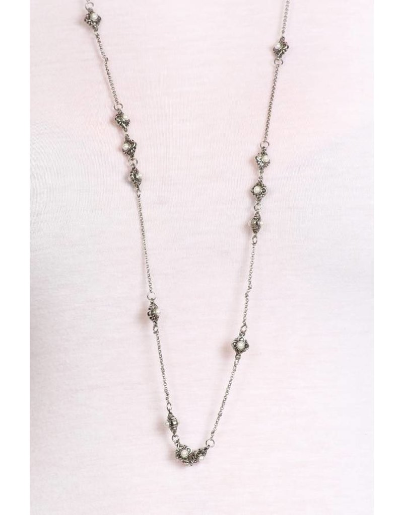 SassyBling Floral Accent Necklace Silver w/ Crystal Stones