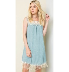 Hayden Los Angeles Bib Lace Tank Dress Seafoam