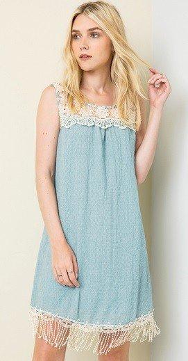 Hayden Los Angeles Bib Lace Tank Dress Seafoam
