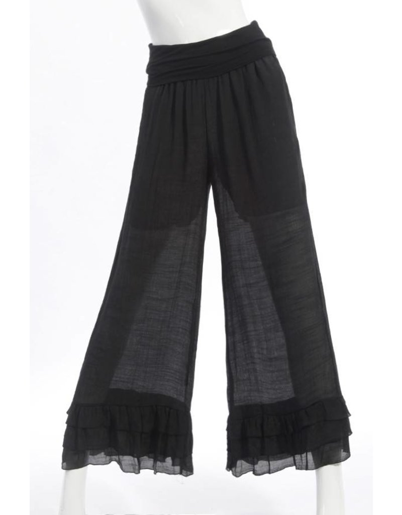 SassyBling Wide Leg Pants Tiered Ruffle Hem