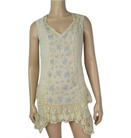 Pretty Angel Lace Bttm Gause Tunic Petite Floral Print Inset