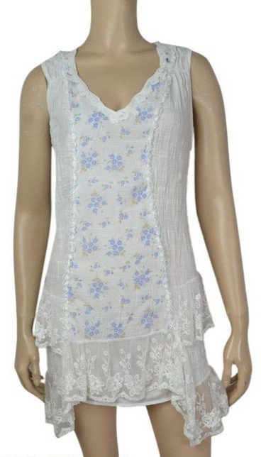 Pretty Angel Lace Bottom Gause Tunic Petite Floral Print Inset