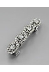 Golden Stella Oval Design Crystal Barrette Clear