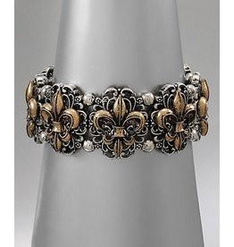 Golden Stella Fleur-De-Lis Metal Trim Link Stretch Bracelet