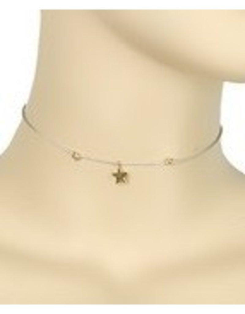 Golden Stella Tiny Star Lariat Necklace-Grey Gold