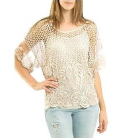 Ivy and Lace 2 Piece Short Sleeve Lace Top Beige One-Size
