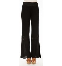 Monoreno Jersey Pants Crochet Detail Knees Black